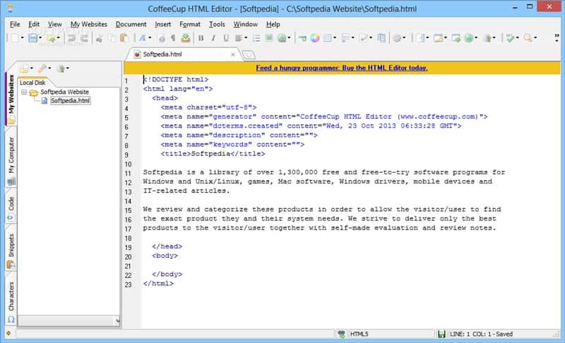 ویرایشگر CoffeeCup HTML Editor